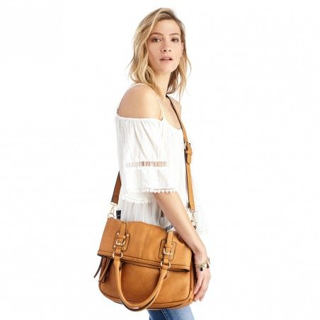 Camel Vegan Leather Foldover Messenger | Charlie | Free Shipping on Orders $50+
