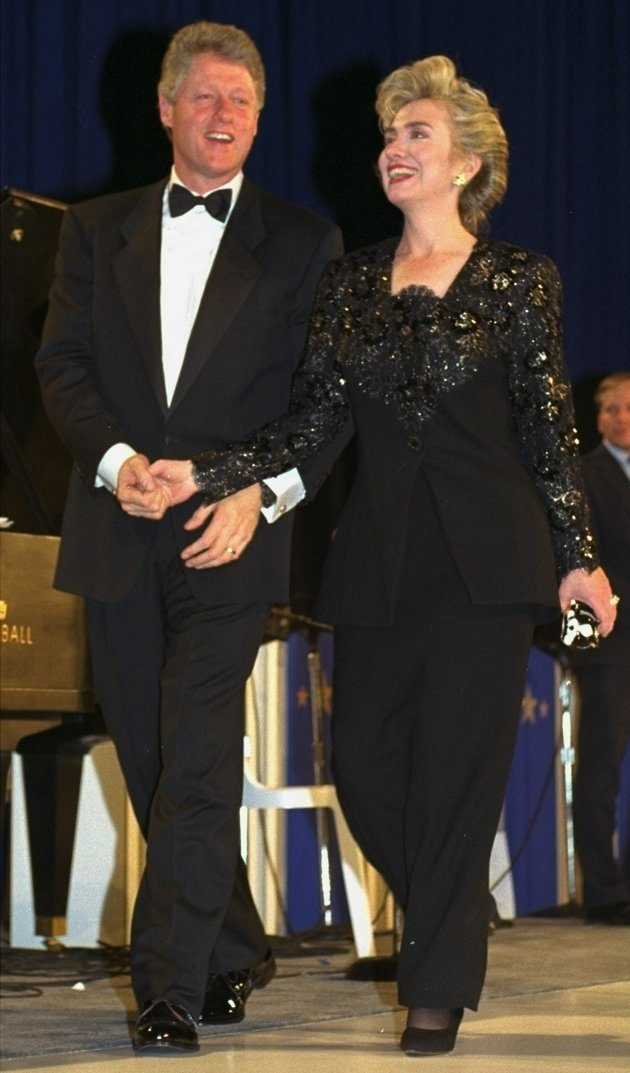 President-elect Bill Clinton and his wife Hillary appear at the inaugural ball at the Washington Convention Center, January 18, 1993.
