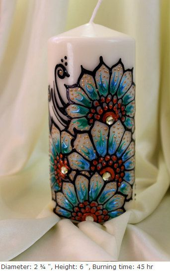 Personalized Handpainted henna candles with sky by ArtbyMeena, $18.00
