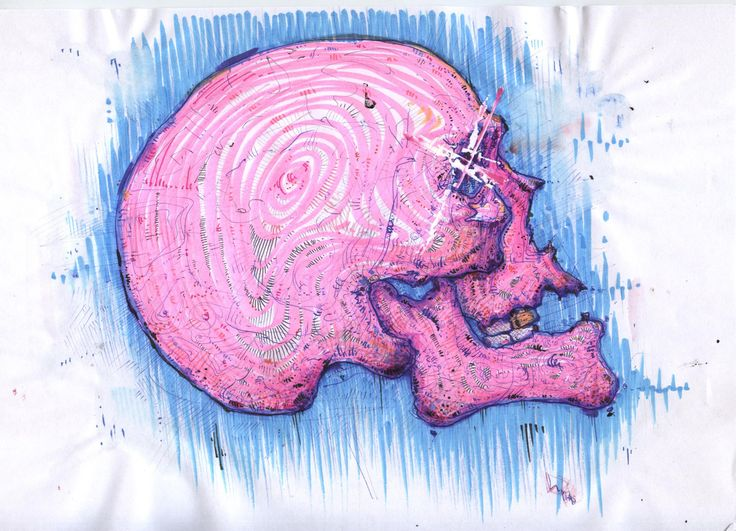 Pink skull - Original Art - Watercolor and Ink Painting - Human Skeleton Fanart by BorisResin on Etsy