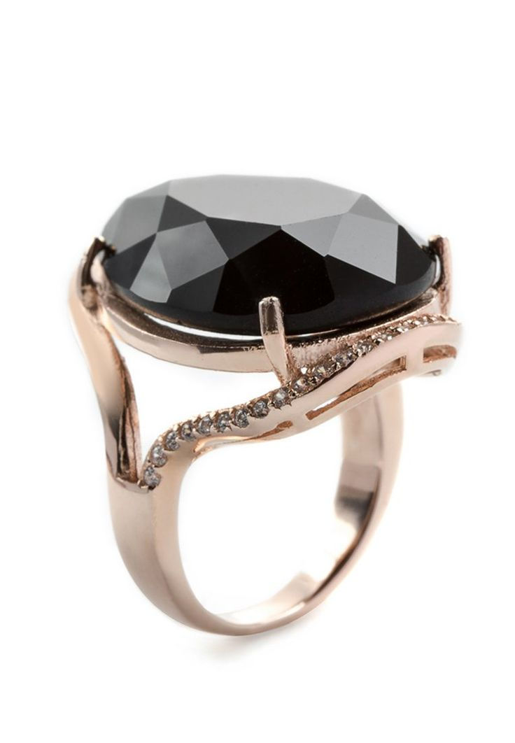 SOLITAIRE ONYX - Ring - roséverguld - sterlingzilver - zirkonia - roségoudkleurig/zwart/ transparant