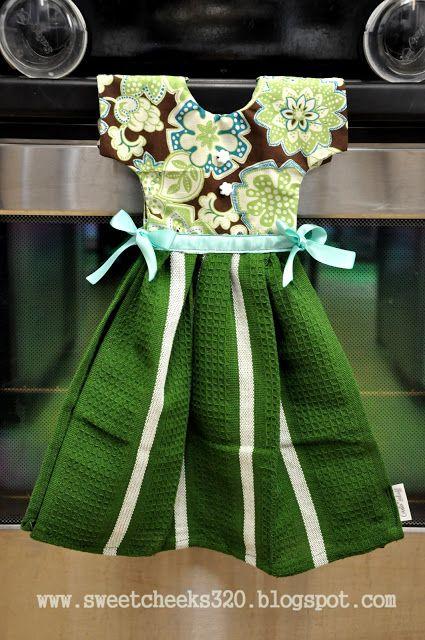 ♥ Sweet Cheeks..: Kitchen Dress Towel (Tutorial) Different version of dish towel oven door apron/dress
