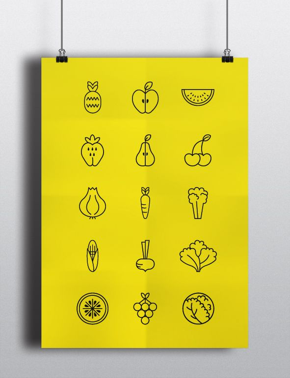 Fruits and Vegetables Pictograms by Marta Simões, via Behance