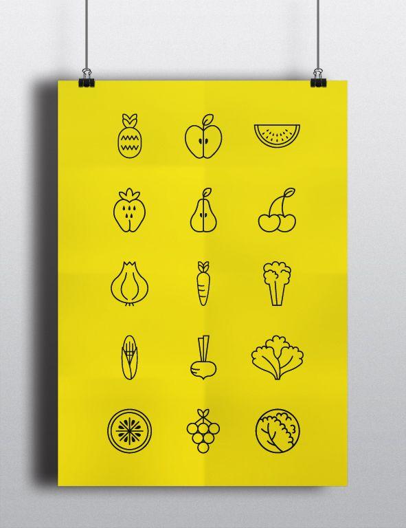Fruits and Vegetables Pictograms by Marta Simões, via Behance
