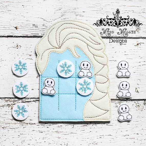 Queen Elsa inspired  ttt  board with pieces 5x7 hoop ITH Embroidery design file felt