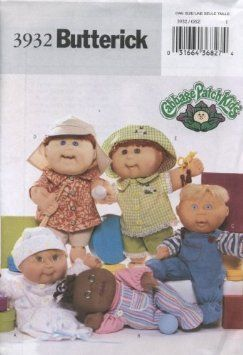 """Amazon.com: Butterick 3932 Cabbage Patch Baby Doll Clothes, for 12"""" & 16"""" Sculptured Dolls: Arts, Crafts & Sewing: Sculptured Dolls, Kids Pattern, Doll Patterns, Baby Dolls, Cabbage Patch Babies, 3932 Cabbage, Clothes Pattern, Baby Doll Clothes, Butterick 3932"""