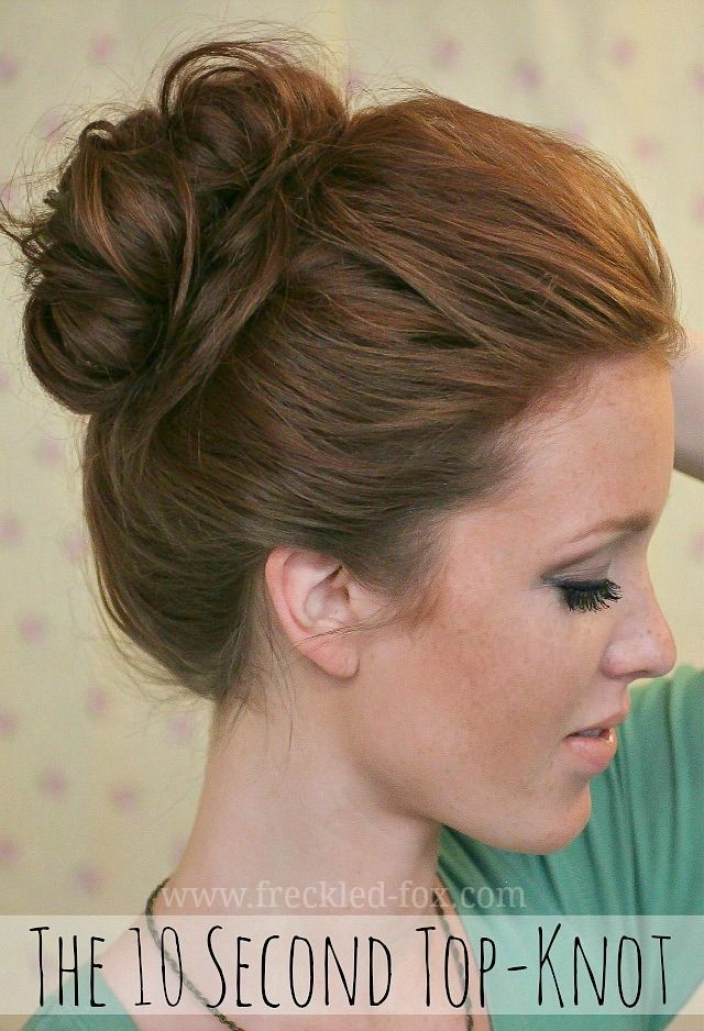 10 second top-knot from The Freckled Fox. I just tried it, and it looks fantastic! I've been attempting this for a year now, and this is the only one that has worked!