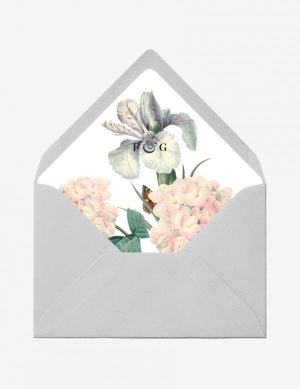 Beautify the plain envelope with this lovely botanical envelope liner, better yet personalize it with your initial. Shop this easy printable design only at www.inatondesign.com