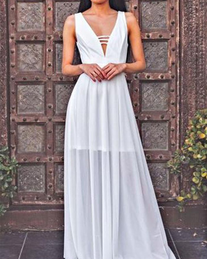 44a8eca0c1d2 white chiffon v-neck long prom dress, simple formal dress for special  occasion