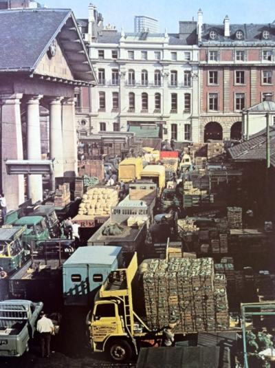 Covent Garden in 1974. These were its final day's as a fruit & veg market. Also the setting for Hitchcock's brilliant 70's thriller 'Frenzy'