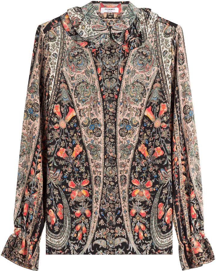 Vilshenko Printed Silk Blouse