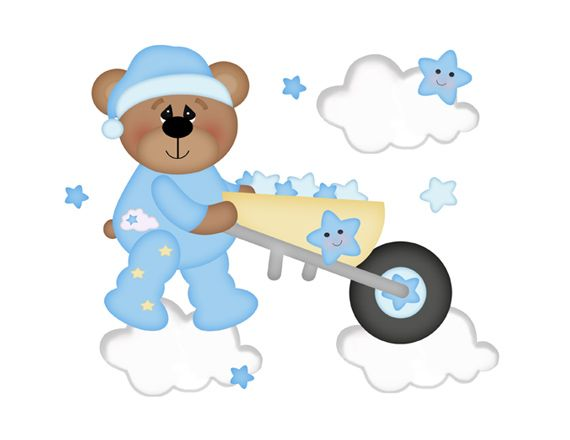 Teddy Bear Mural Wall Decals Star Moon Clouds Boy Nursery Decor