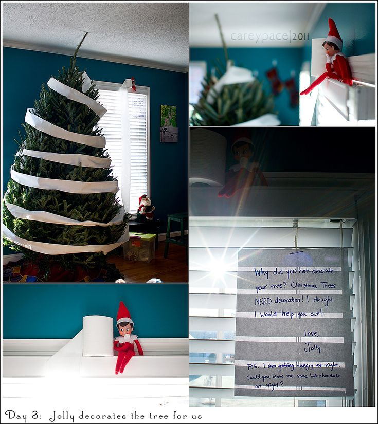 {Elf Toilet Papered Tree} Too funny. Loved the note. @Katie Ross can