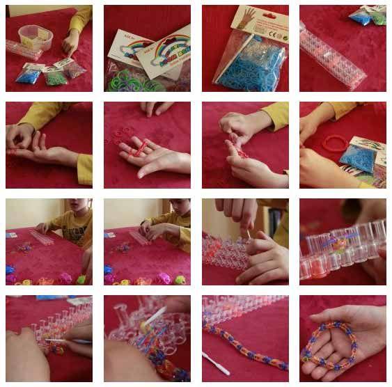 Cómo hacer las pulseras de moda hechas con gomas de colores | Portaldelabores.com | Portal de labores