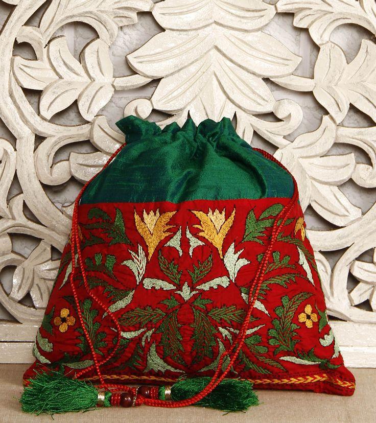 Green Silk Potli Bag With Kantha Embroidery