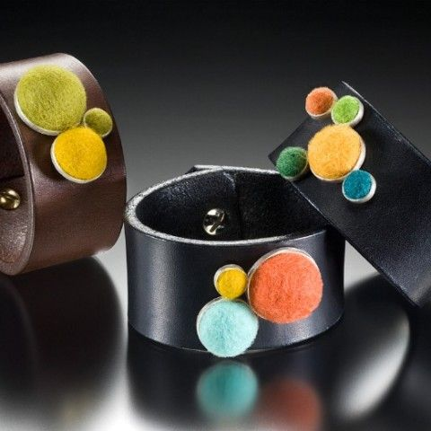 Cara Romano: Felted Silver Leather Cuff Bracelet