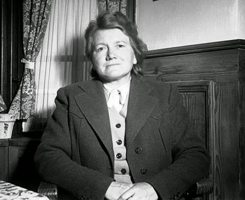 Paula Hitler, younger sister of Adolf, arrested and interrogated by US intelligence officers. Germany. July 12, 1945.