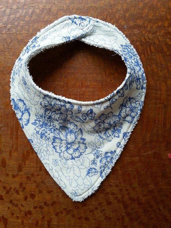 Bandana Bib Blue and White Floral 012 Months by Pennylanecraft, $9.50
