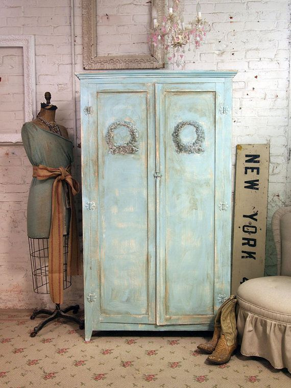 antique armoire: Paintings Techniques, Aqua Armoire, Shabby Chic, Cottages Chic, Cabinets, Dresses Form, Aqua Dresses, Old Cabinets, Pictures Frames