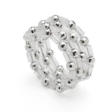 Napkin Rings W Clear Beads Silver Pearls By Smartyhadaparty