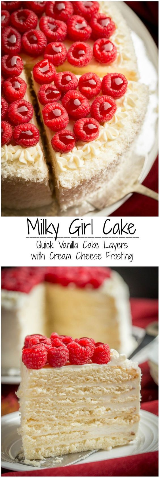 Quick and easy, with tender sweetened condensed milk cake layers, frosted with Vanilla Cream Cheese Frosting.