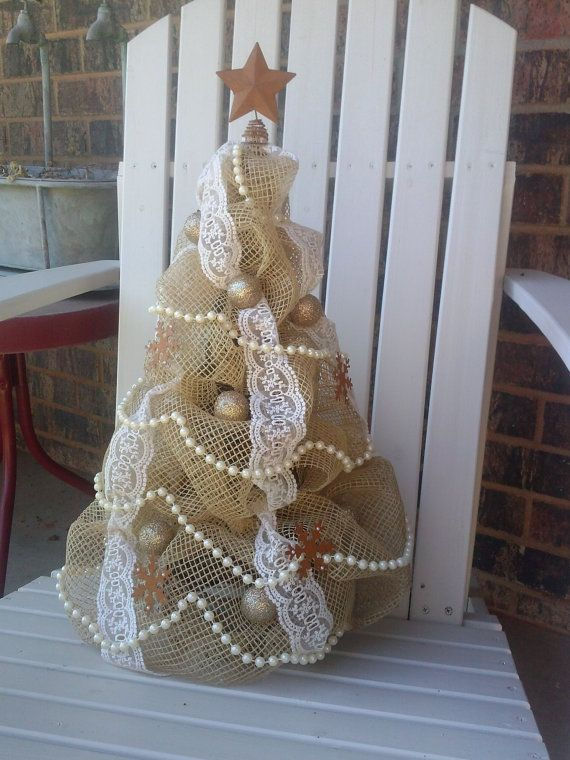 Burlap and lace shabby chic Christmas tree by DecktheCottage