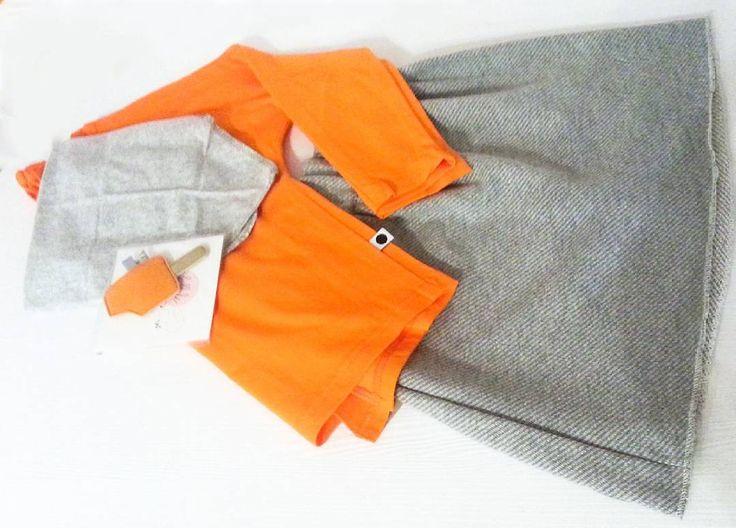 Zestaw na dziś to: pomarańczowa bluzeczka od @lamamalove, spódniczka od @tuss do tego chustka od @lamamalove i spinka od @kollale. Zapraszamy na zakupy! :) #malystyl #lamama #tuss #kollale #spinka...