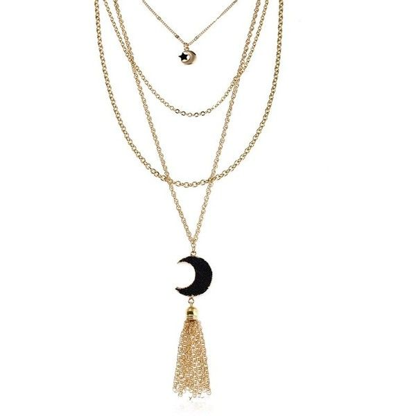 Black Natural Stone Moon Fringed Star Layered Necklace ($4.50) ❤ liked on Polyvore featuring jewelry, necklaces, multi layer necklace, star necklace, layered jewelry, natural stone necklaces and natural stone jewelry