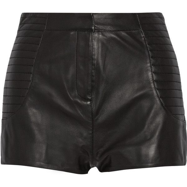 Pierre Balmain High-rise leather shorts (€255) ❤ liked on Polyvore featuring shorts, bottoms, balmain, black, pants, high rise shorts, highwaist shorts, pierre balmain, high waisted stretch shorts and leather shorts
