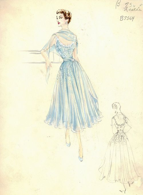 Cocktail dress sketch by Leslie Morris for Bergdorf Goodman, 1950s.theniftyfifties.tumblr.com →