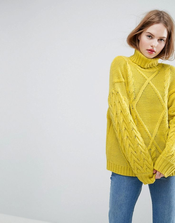 ASOS Sweater in Cable and Roll Neck - Yellow