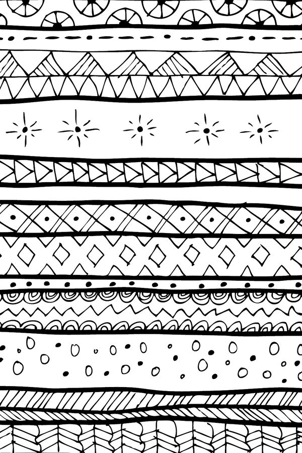 Mudcloth Tribal Doodle Stripe Large by littlepop - Hand drawn black and white mudcloth pattern on fabric, wallpaper, and gift wrap.  Bold black lines with detailed geometric shapes and patterns.