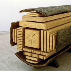 Intriguing Wooden Sculpture Inspired by an Exploding Log: Billon