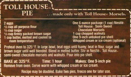 Toll House Pie // Connor's mom introduced me to this delicious, easy pie! Definitely a new favorite. :)