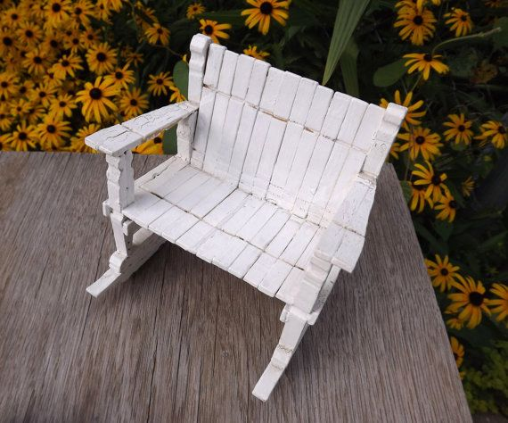 Little White Clothespin Rocking Chair Double Wide by ForsythiaHill