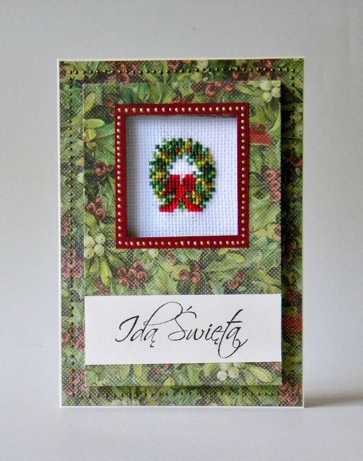 Card with garland on christmas.