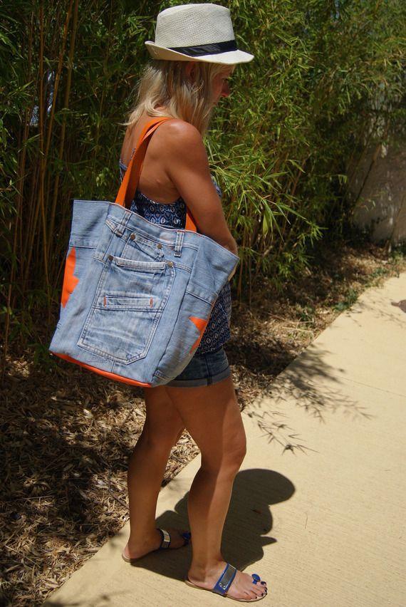 Sac en jean recyclé et étoiles oranges                                                                                                                                                      Plus