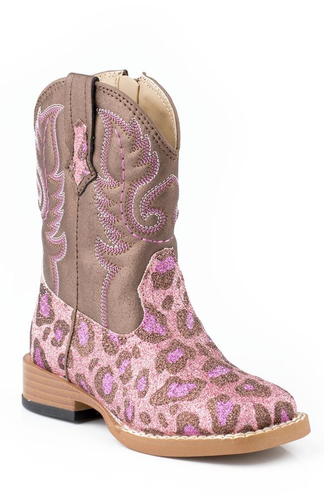 Roper Kids Bling Square Toe Leopard Cowboy Boots (Size 2-8) - Pink $51.97