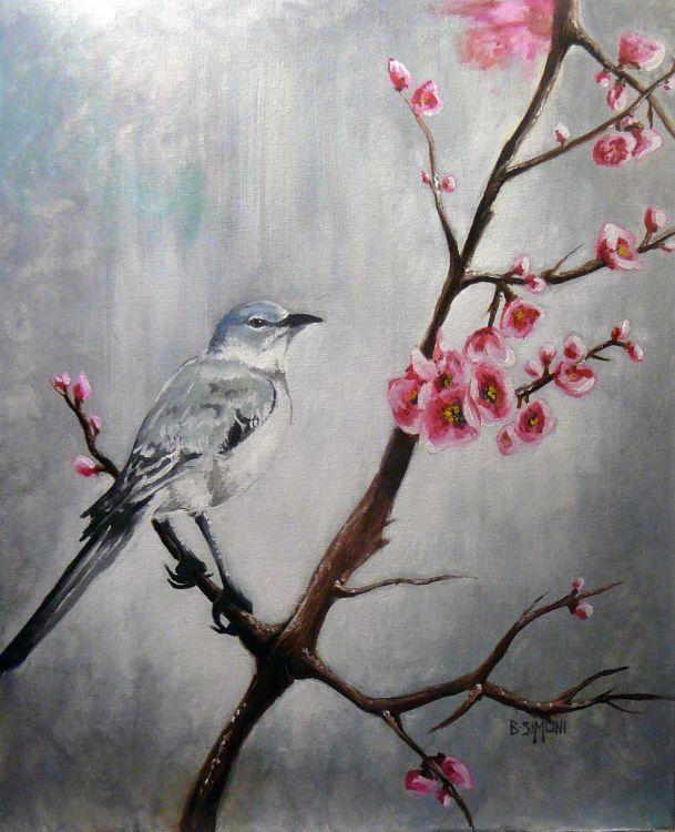Oiseau et fleur de cerisier dessin pinterest - Cerisier en fleur dessin ...