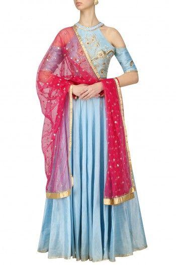Breathe By Aakanksha And Nupur Aqua Blue Cold Shoulder Blouse and Skirt Set #happyshopping #shopnow #ppus