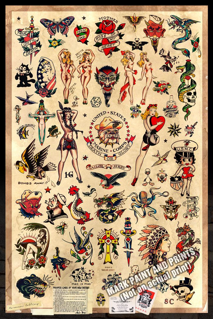 Sailor jerry tattoo flash 2 poster print 24 x36 free for Tattoo shops 24 hours
