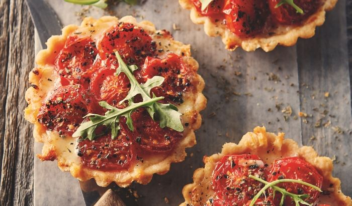 Recipe for Tomato Tarts with Maple Syrup by Taste Canada finalist Made in Quebec: A Culinary Journey and Julian Armstrong for Gusto TV.