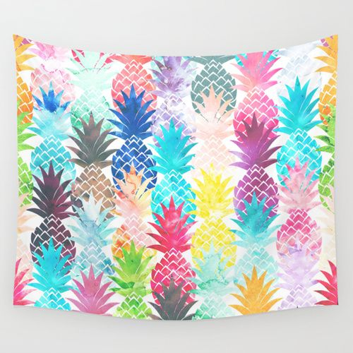 Hawaiian Pineapple Pattern Tropical Watercolor Wall Tapestry