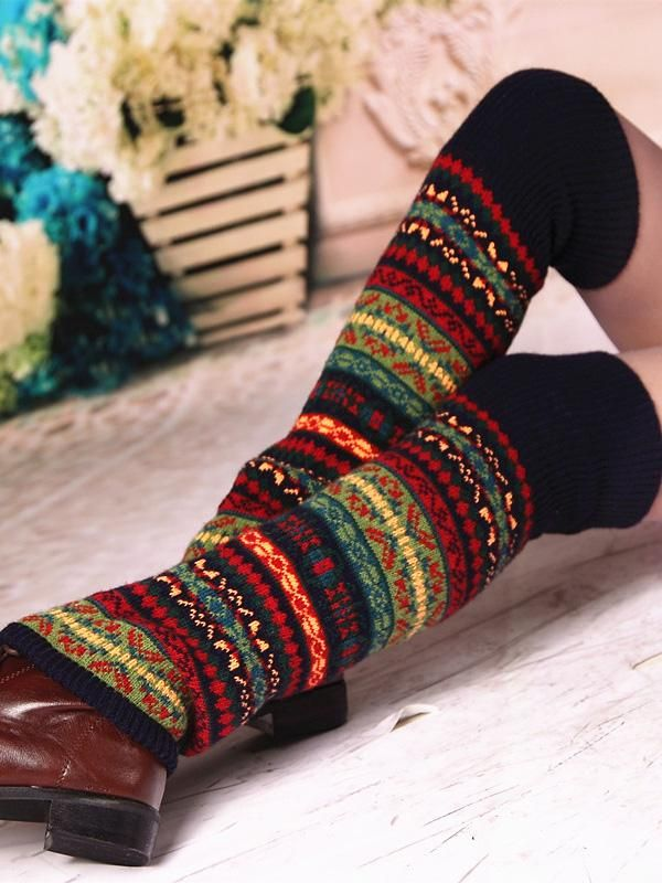 Bohemia Style Women Vintage Thick Knitted Wool Leg Warmers Winter Boot Socks NEW