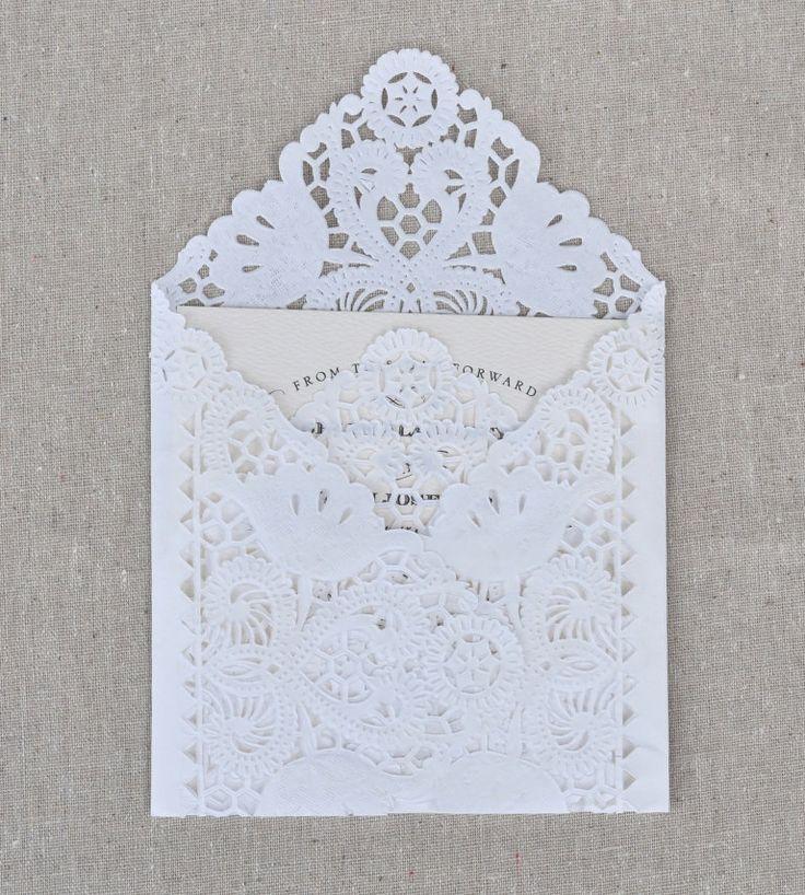 SAMPLE Lace Wedding Invitation Envelope Liner, Paper Doily Lace Invitation Liner, Embellishment, Invitation Envelope. $2.00, via Etsy.