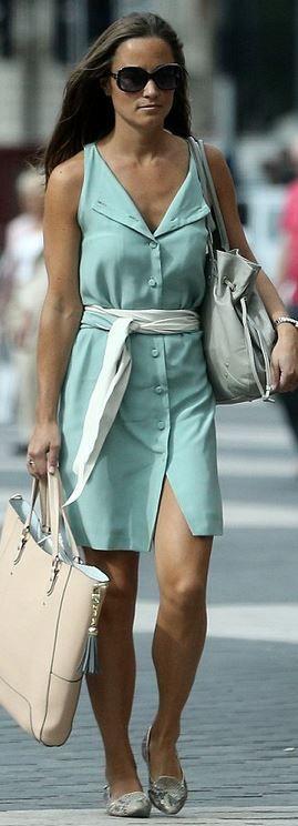 Mint green shirt dress.