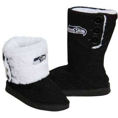 Seattle Seahawks Ladies Knit High End Button Boot Slippers - Black