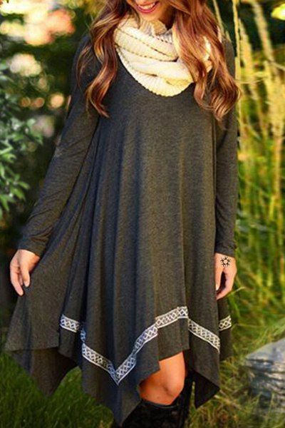 Stylish Round Neck Long Sleeve Spliced Asymmetrical Women's Dress