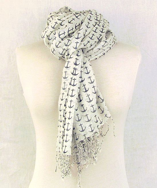 Ivory & Navy Anchor Scarf