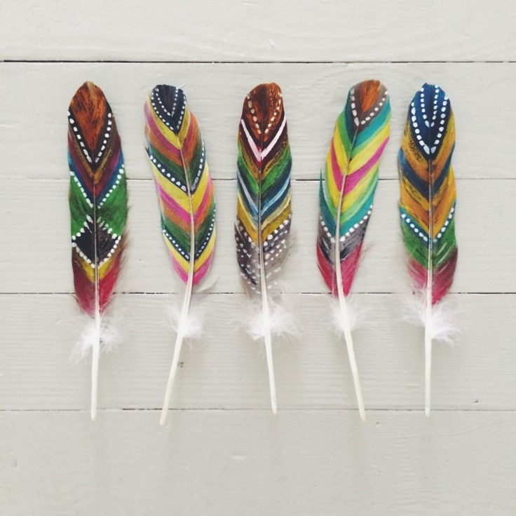 Painted feathers for dream catchers
